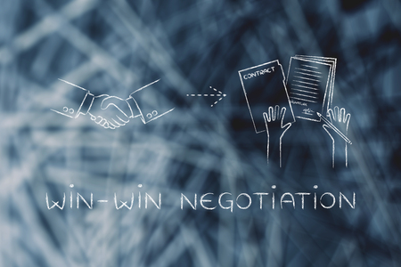 signed: win-win negotiation: handshake and hands holding signed documents