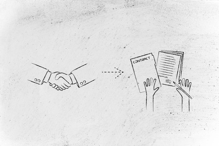 make a deal, sign a contract: handshake and hands holding signed documents