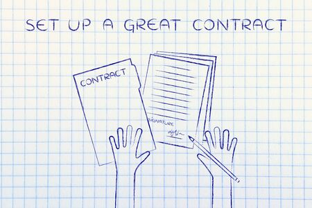 signed: set up a great contract: hands holding pen and signed documents, flat outline illustration Stock Photo