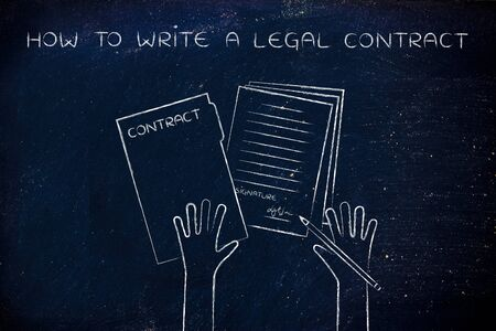hiring practices: how to write a legal contract: hands holding pen and signed documents, flat outline illustration