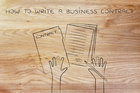 hiring practices: how to write a business contract: hands holding pen and signed documents, flat outline illustration