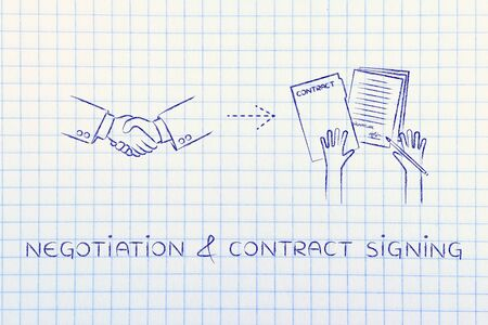 negotiation & contract signing: handshake and hands holding signed documents Stock Photo
