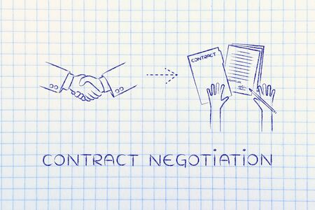 hiring practices: contract negotiation: handshake and hands holding signed documents