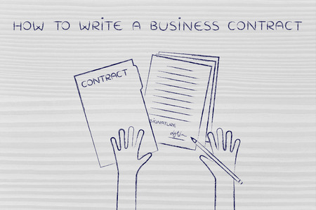 signed: how to write a business contract: hands holding pen and signed documents, flat outline illustration