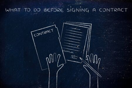 hiring practices: what to do before signing a contract: hands holding pen and signed documents, flat outline illustration