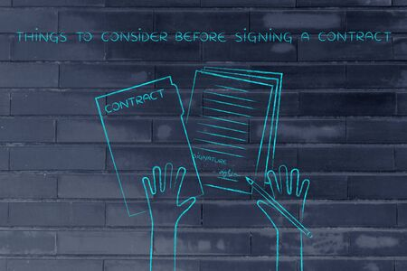 hiring practices: things to consider before signing a contract: hands holding pen and signed documents, flat outline illustration