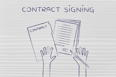 hiring practices: contract signing: hands holding pen and signed documents, flat outline illustration