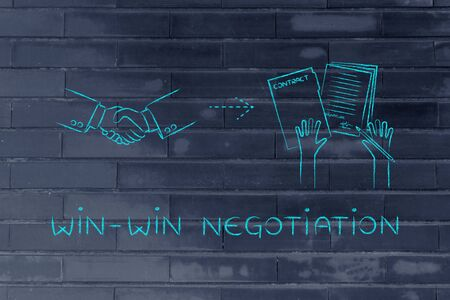 negotiation: win-win negotiation: handshake and hands holding signed documents