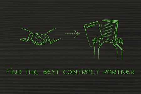 signed: find the best contract partner: handshake and hands holding signed documents