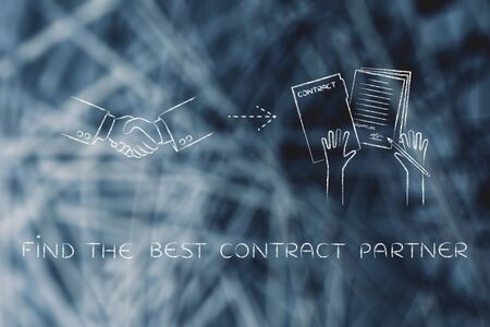 find the best contract partner: handshake and hands holding signed documents