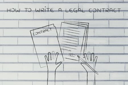 legal contract: how to write a legal contract: hands holding pen and signed documents, flat outline illustration