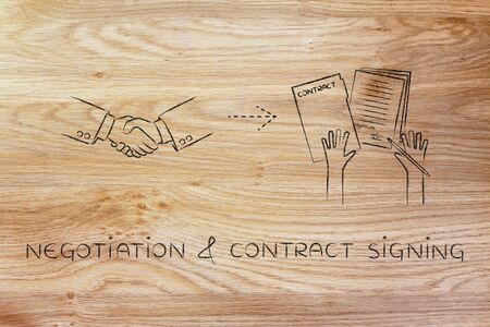 hiring practices: negotiation & contract signing: handshake and hands holding signed documents Stock Photo