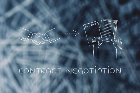 contract negotiation: handshake and hands holding signed documents