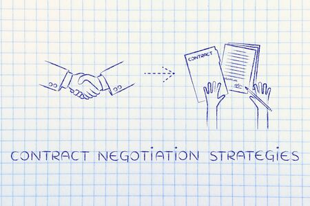hiring practices: contract negotiation strategies: handshake and hands holding signed documents