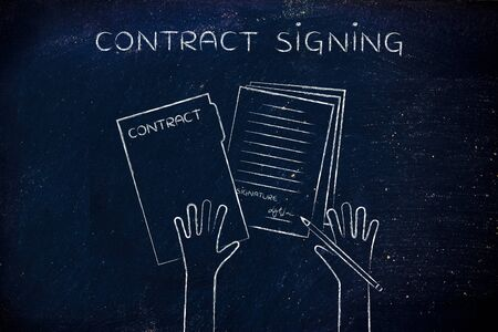 contract signing: contract signing: hands holding pen and signed documents, flat outline illustration