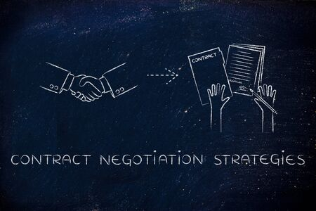 signed: contract negotiation strategies: handshake and hands holding signed documents