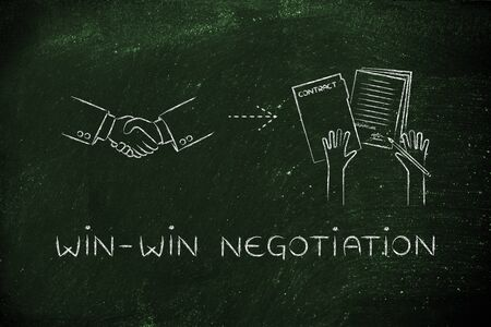 win-win negotiation: handshake and hands holding signed documents