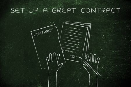 hiring practices: set up a great contract: hands holding pen and signed documents, flat outline illustration Stock Photo