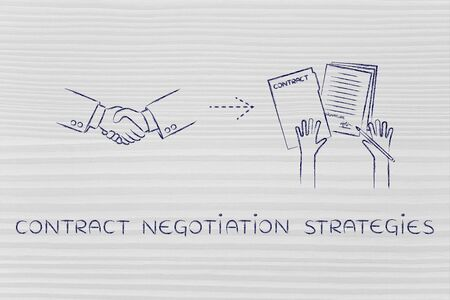 contract negotiation strategies: handshake and hands holding signed documents
