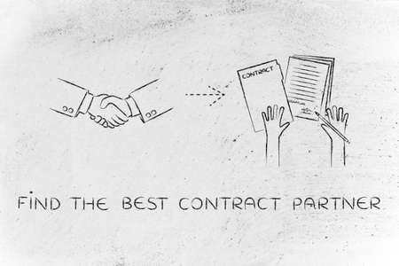 hiring practices: find the best contract partner: handshake and hands holding signed documents