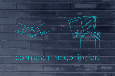signed: contract negotiation: handshake and hands holding signed documents