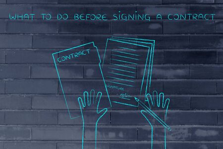 signing a contract: what to do before signing a contract: hands holding pen and signed documents, flat outline illustration