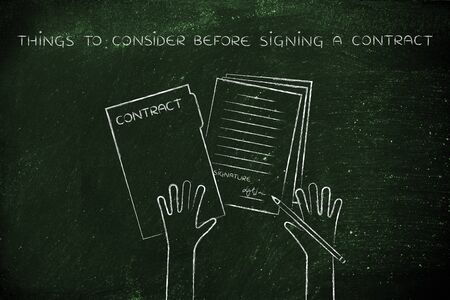 signing a contract: things to consider before signing a contract: hands holding pen and signed documents, flat outline illustration