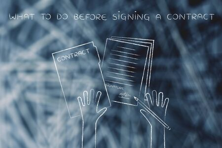 what to do before signing a contract: hands holding pen and signed documents, flat outline illustration