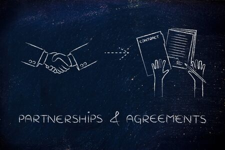 signed: & partnerships agreements: handshake holding hands and signed document