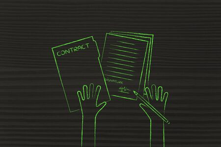 hiring practices: hands signing a contract, flat outline illustration Stock Photo