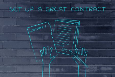 set up a great contract: hands holding pen and signed documents, flat outline illustration Stock Photo