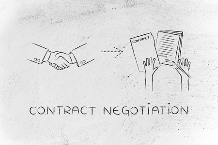 negotiation: contract negotiation: handshake and hands holding signed documents