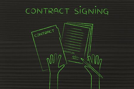 contract signing: hands holding pen and signed documents, flat outline illustration