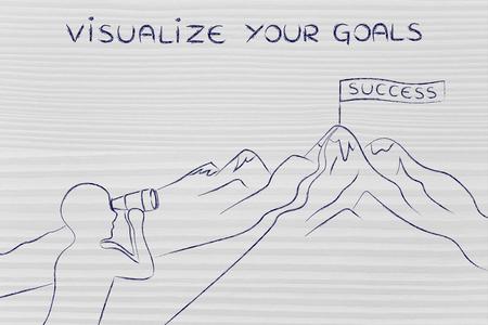 visualizar sus metas: persona con binoculares mirando en el camino para llegar a un banner Éxito en la cima de una montaña Foto de archivo