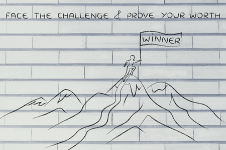 prove: face the challenge & prove your worth: person who reached the top of a mountain holding a Winner banner Stock Photo