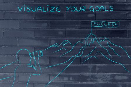 visualize: visualize your goals: person with binoculars looking at the path to reach a Success banner on top of a mountain