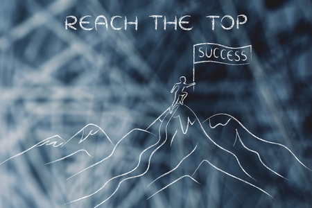 reach the top: person who reached the top of a mountain holding a Success banner