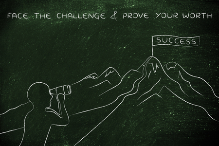 prove: face the challenge & prove your worth: person with binoculars looking at the path to reach a Success banner on top of a mountain