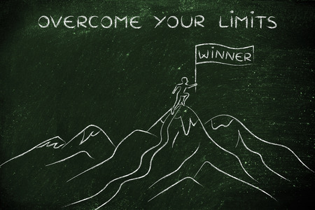 overcome: overcome your limits: person who reached the top of a mountain holding a Winner banner