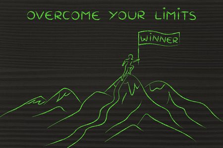 limits: overcome your limits: person who reached the top of a mountain holding a Winner banner