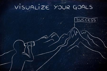 visualizar sus metas: persona con binoculares mirando en el camino para llegar a un banner Éxito en la cima de una montaña
