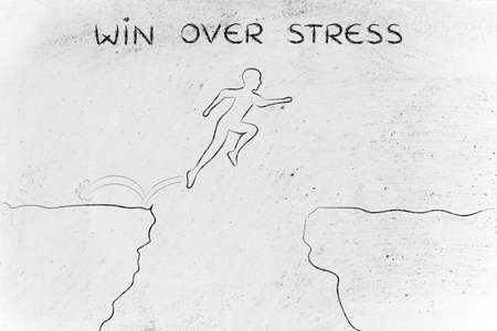 successfully: win over stress: brave man successfully jumpying over a dangerous cliff