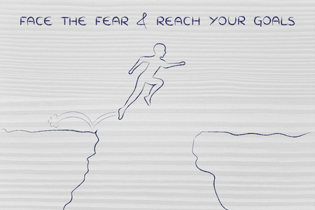 dangerous cliff: face the fear & reach your goals: man successfully jumpying over a dangerous cliff