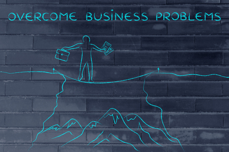 overcome: overcome business problems: businessman holding business plan and bag tight rope walking over a dangerous cliff