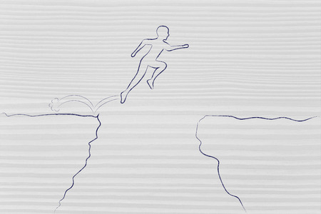 brave man successfully jumpying over a dangerous cliff