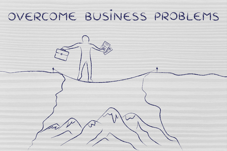 business problems: overcome business problems: businessman holding business plan and bag tight rope walking over a dangerous cliff