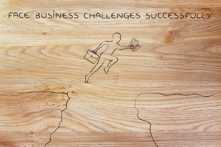successfully: face business challenges successfully: businessman  jumpying over a cliff holding business plan and laptop bag