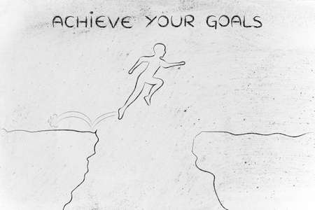 dangerous cliff: achieve your goals: brave man successfully jumpying over a dangerous cliff