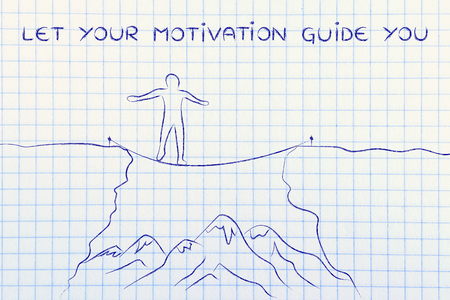 successfully: let your motivation guide you: man successfully tight rope walking over a dangerous cliff