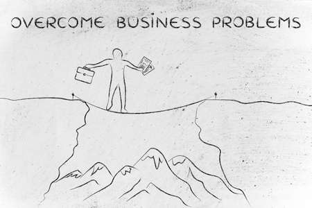 tight: overcome business problems: businessman holding business plan and bag tight rope walking over a dangerous cliff